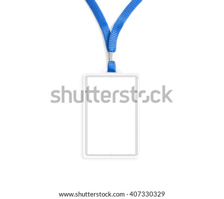 Blank bagde mockup isolated on white. Plain empty name tag mock up hanging on neck with string. Nametag with blue ribbon and transparent plastic paper holder. Badge  clipping path. Corporate design. - stock photo