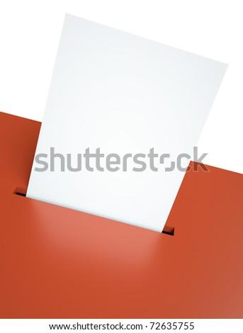 Blank ballot paper in a red ballot box slot. 3D render - stock photo