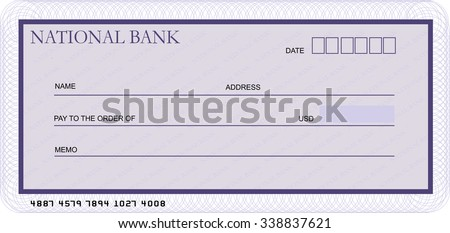 Blank bank cheque template in shades of violet