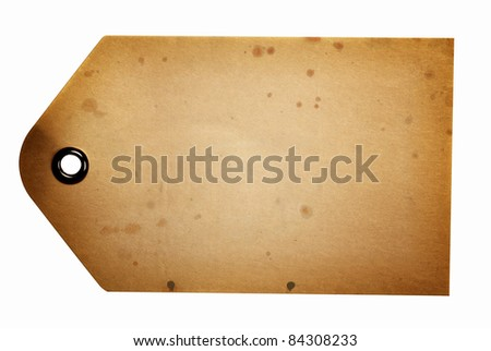 Blank beige gift tag isolated on a white background with clipping path - stock photo