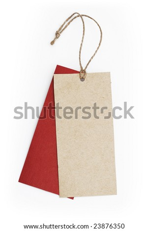 blank beige tag on white background - stock photo