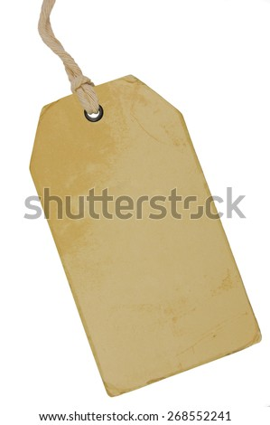 Blank Beige Vintage Cardboard Sale Tag, Empty Grunge Price Label Pricetag Badge, Isolated Grungy Macro Closeup Vertical Copy Space