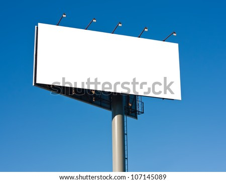 Blank big billboard over blue sky background, put your text here - stock photo