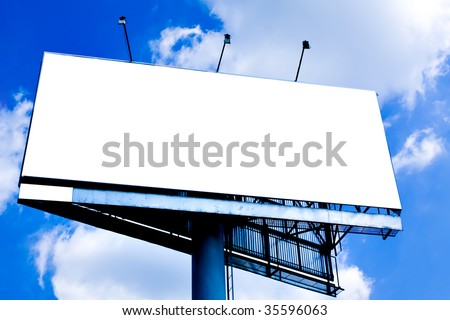 Blank big billboard over blue sky, put your text - stock photo