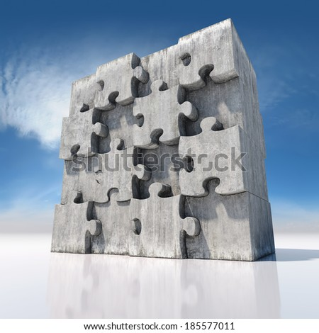 Blank big jigsaw puzzle made of concrete parts - stock photo