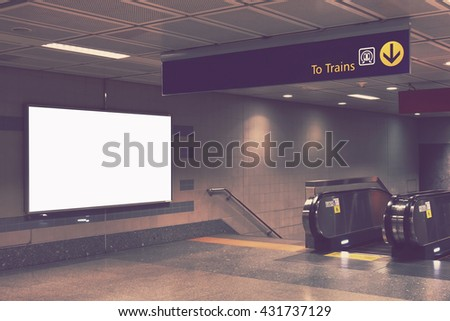 blank billboard - advertising indoor subway entrance train station public commercial - stock photo