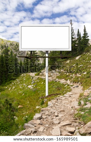 Blank billboard advertising sign along a mountain trail in Colorado - stock photo