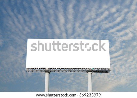 blank billboard against blue sky and clouds background