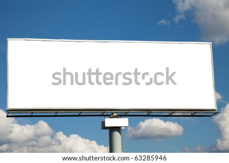 Blank billboard against blue sky for your advertisement - stock photo