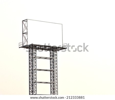 Blank billboard against on white, put your own text here on white - stock photo