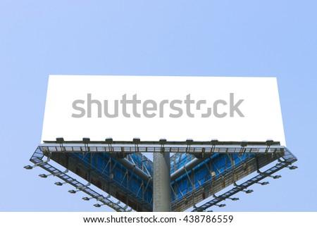 Blank billboard at blue sky background - stock photo