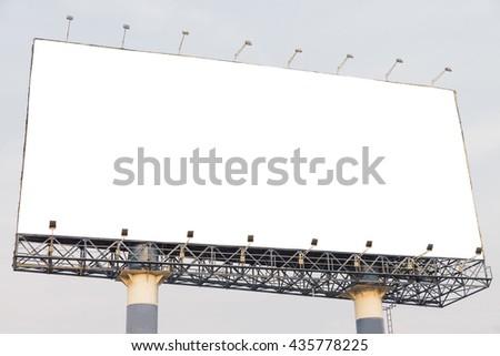 Blank billboard at blue sky background, mock up - stock photo