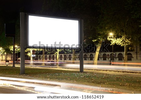 Blank billboard at night, clipping path included - stock photo