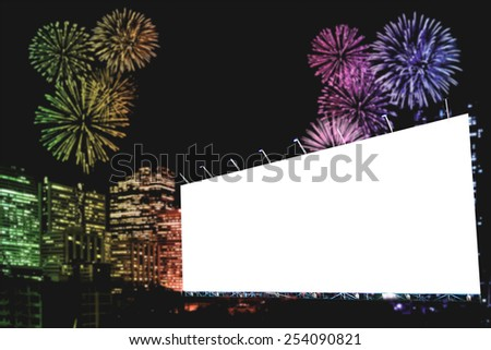 Blank billboard at night with fireworks - stock photo
