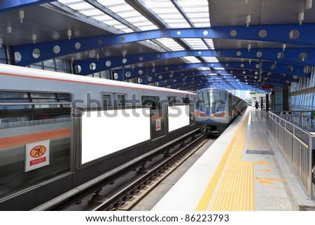 blank billboard at subway station in beijing - stock photo