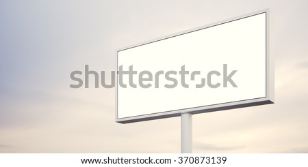 Blank billboard at sunset time ready for advertisement. abstract background. 3d render - stock photo