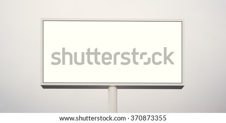 Blank billboard at sunset time ready for advertisement. Front view, abstract background. 3d render - stock photo