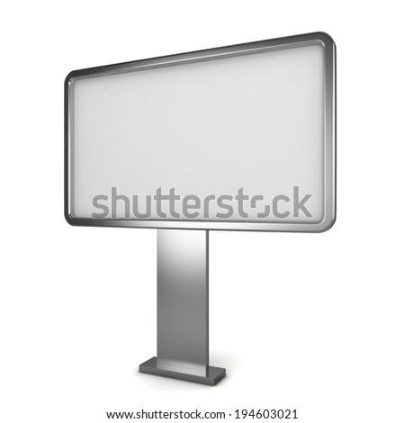 Blank billboard. 3d illustration isolated on white background  - stock photo