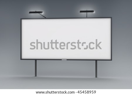 Blank billboard; 3D rendered image. - stock photo
