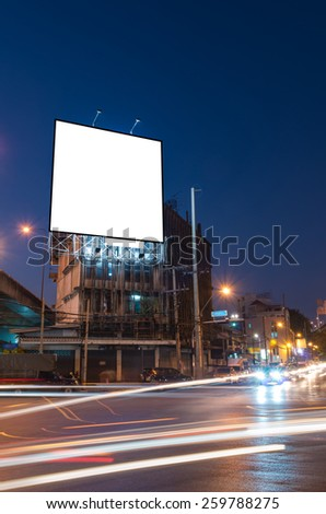 Blank billboard for advertisement at twilight time