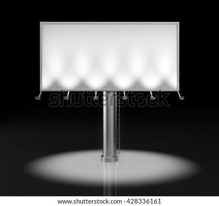 Blank billboard for advertisement. 3d illustration - stock photo