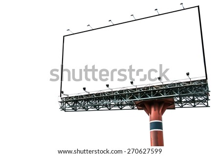 Blank billboard for advertisement isolated on white - stock photo