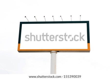 Blank billboard for advertisement on white background - stock photo