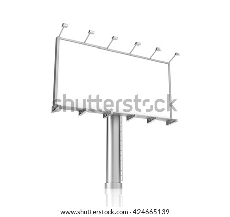 Blank billboard for advertisement on white background. 3d illustration - stock photo
