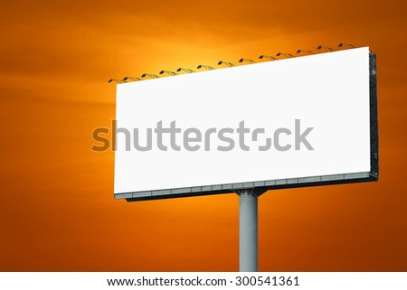 blank billboard for advertisement with beautiful sunset background
