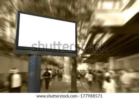 Blank billboard for advertisement with many people walking on street - stock photo
