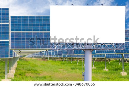 Blank billboard for advertisement with solar power plant.