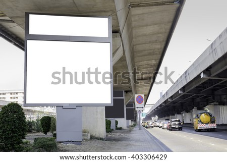 blank billboard for advertising along the road. - stock photo
