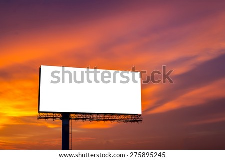 Blank billboard for new advertisement with beautiful sun set sky background.