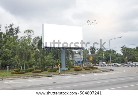 Blank billboard for your advertisement on road curve