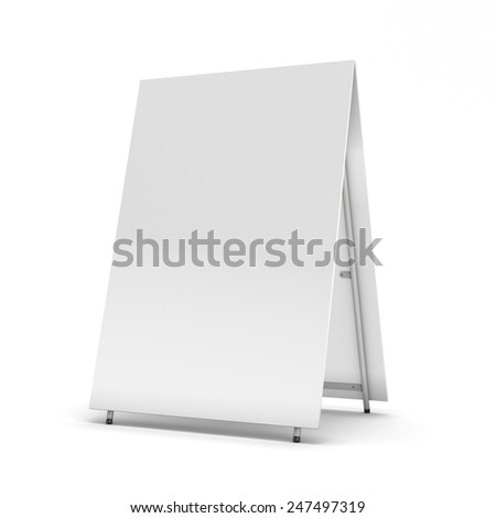 Blank billboard for your design isolated on white background. 3d render image. - stock photo