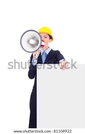 blank billboard holding female engineer with megaphone, isolated on white background - stock photo