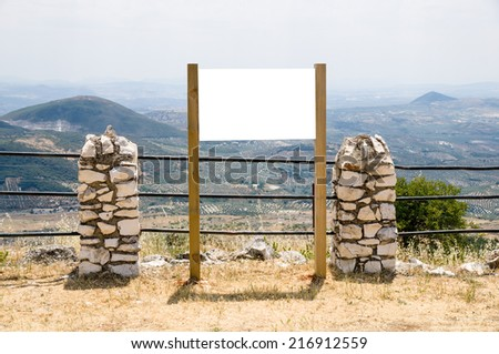 blank billboard in a mountain - stock photo