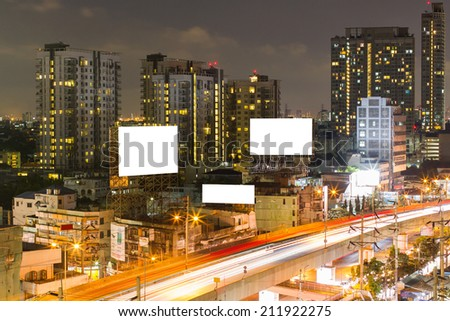 Blank billboard in city. - stock photo