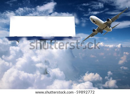 Blank billboard in clouds with airplane - stock photo