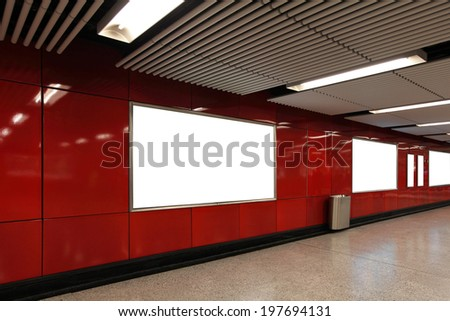 Blank Billboard in metro subway station shot in asia, hong kong, great for your copy space - stock photo