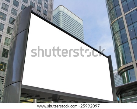 Blank billboard in modern business district