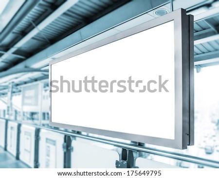 Blank billboard in skytrain station  - stock photo