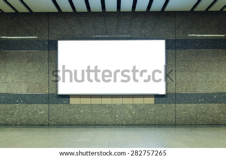Blank billboard in subway. Useful for your advertising. - stock photo