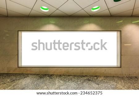 blank billboard in the hall way - stock photo