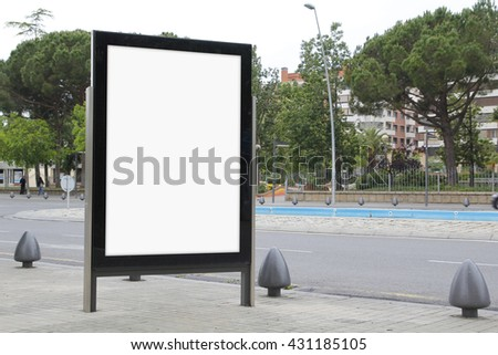 Blank billboard in the street, promo advertisement
