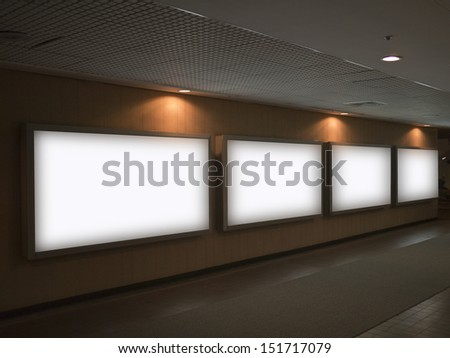 blank billboard in train station indoors - stock photo