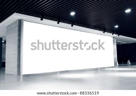 blank billboard indoor.Shanghai, China. - stock photo