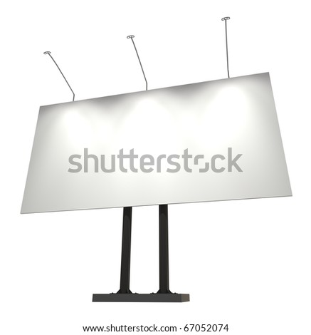 Blank billboard, isolated on white with clipping path, 3d illustration - stock photo
