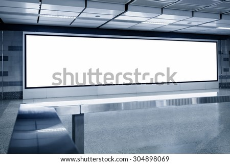 Blank Billboard light box template display in Subway station - stock photo