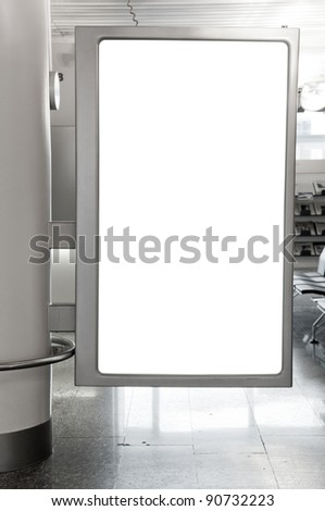 Blank billboard located in underground hall, useful for your advertising - stock photo